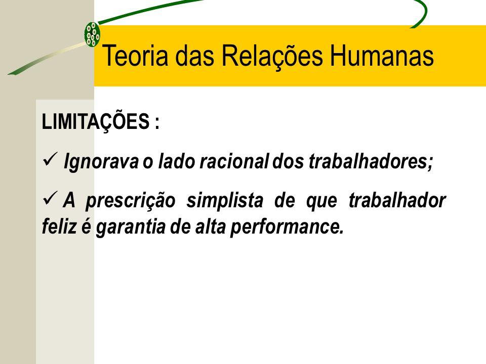 LIMITAÇÕES : Ignorava o lado racional dos trabalhadores; A prescrição simplista de que trabalhador feliz é garantia de alta performance.