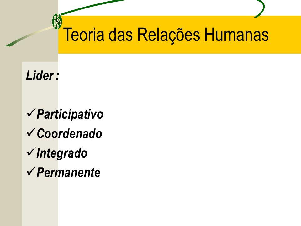 Teoria das Relações Humanas Lider : Participativo Coordenado Integrado Permanente