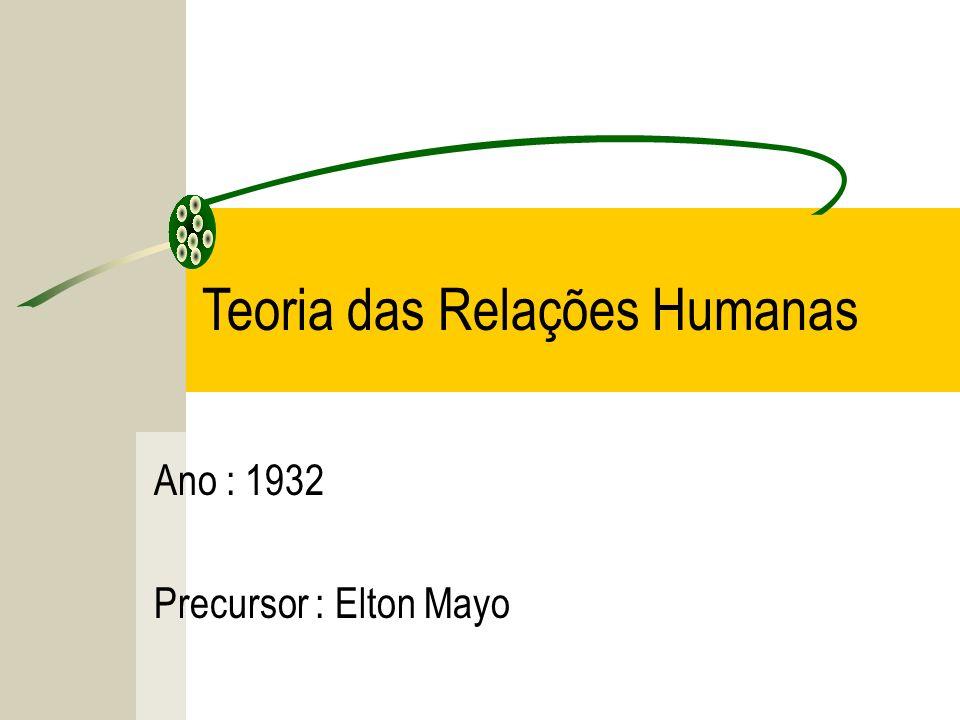 Ano : 1932 Precursor : Elton Mayo Teoria das Relações Humanas