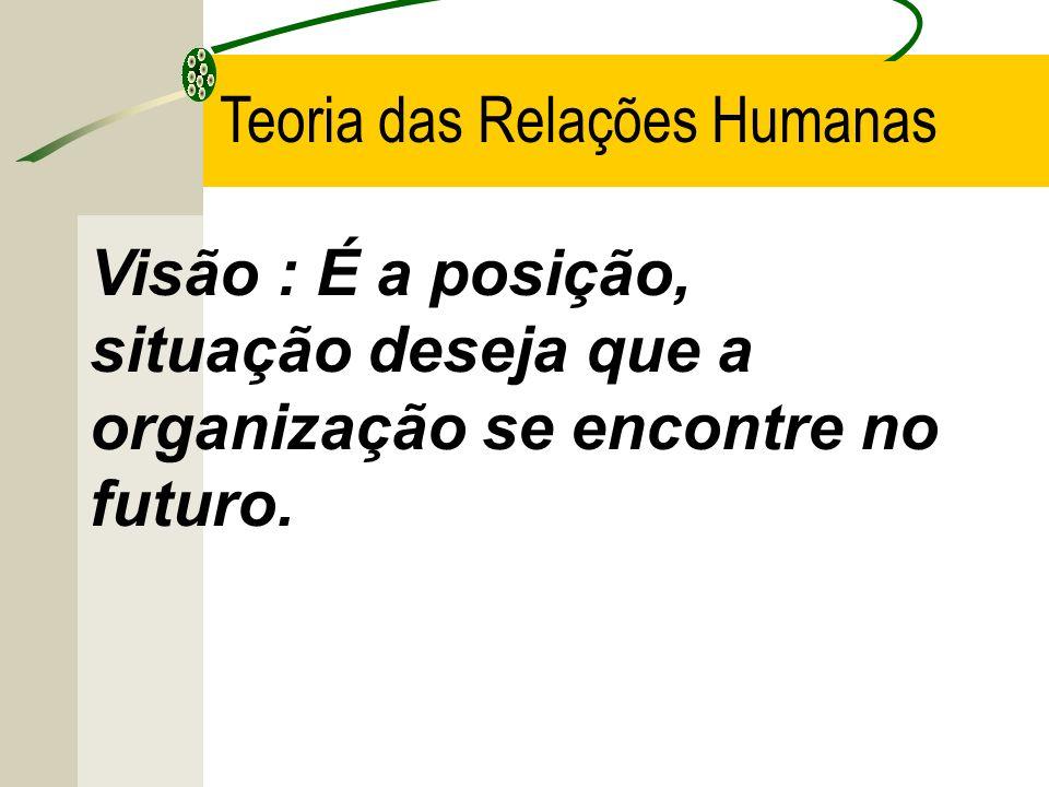 Visão : É a posição, situação deseja que a organização se encontre no futuro. Teoria das Relações Humanas