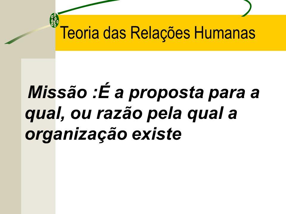 Missão :É a proposta para a qual, ou razão pela qual a organização existe Teoria das Relações Humanas