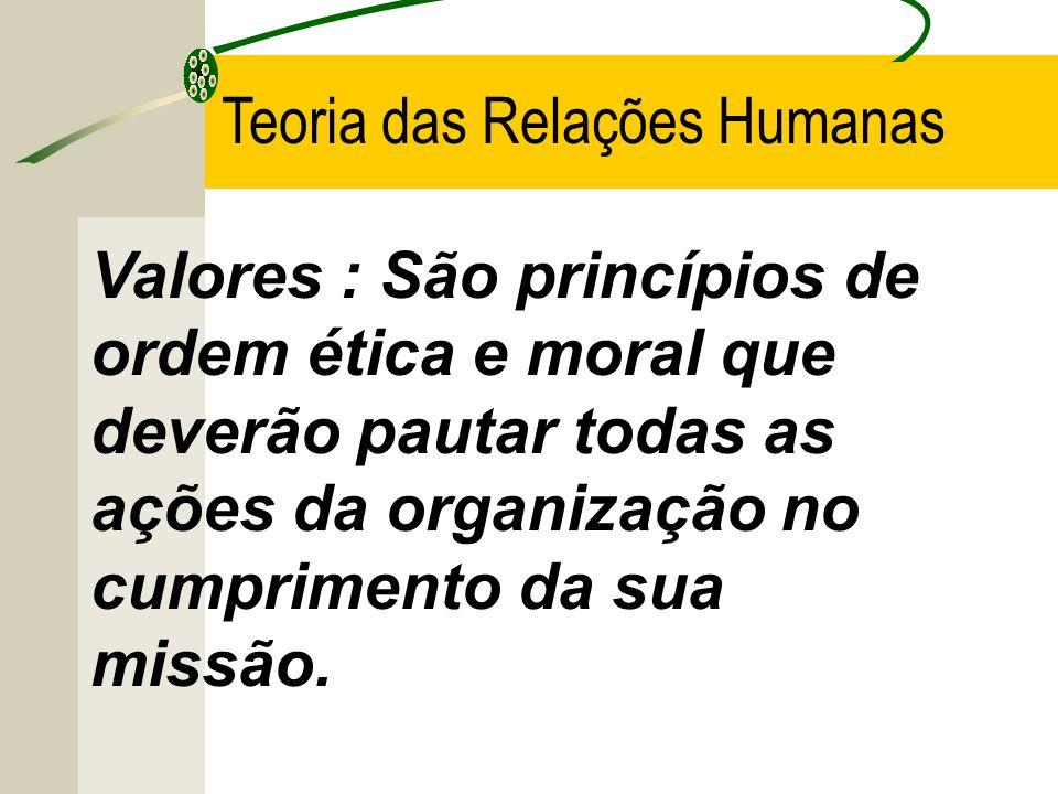 Valores : São princípios de ordem ética e moral que deverão pautar todas as ações da organização no cumprimento da sua missão. Teoria das Relações Hum