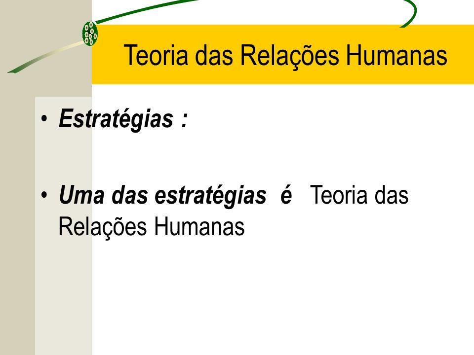 Estratégias : Uma das estratégias é Teoria das Relações Humanas