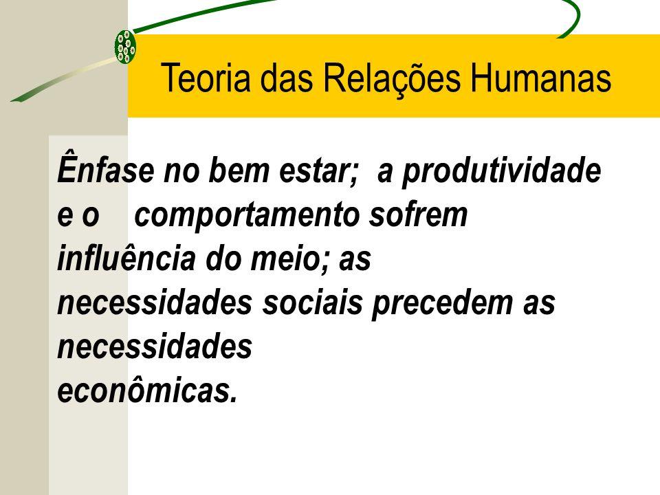 Ênfase no bem estar; a produtividade e o comportamento sofrem influência do meio; as necessidades sociais precedem as necessidades econômicas. Teoria