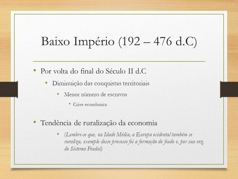 Baixo Império (192 – 476 d.C) Por volta do final do Século II d.C Diminuição das conquistas territoriais Menor número de escravos Crise econômica Tend