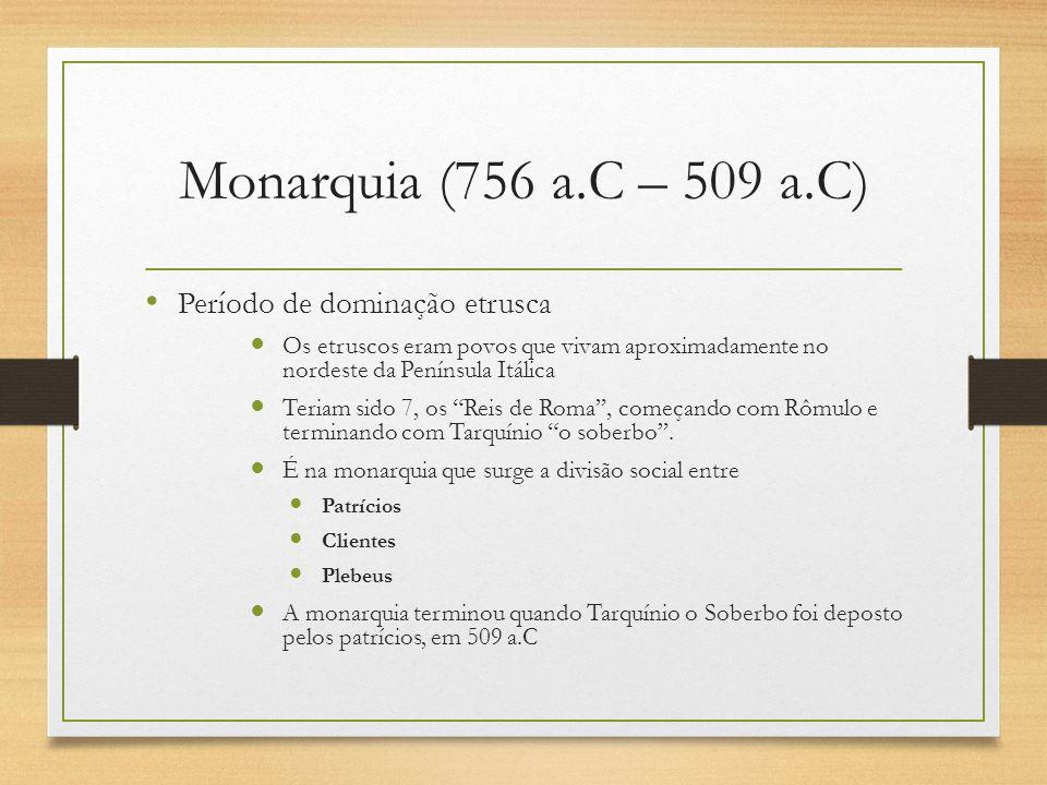 República (509 a.C – 27 a.C) Domínio patrício Formada especialmente a partir de um Senado 300 membros vitalícios Auxiliava o senado as Magistraturas Cônsules Pretores Censores Edis Questores Ditadores Senatus Popolusque Romanus