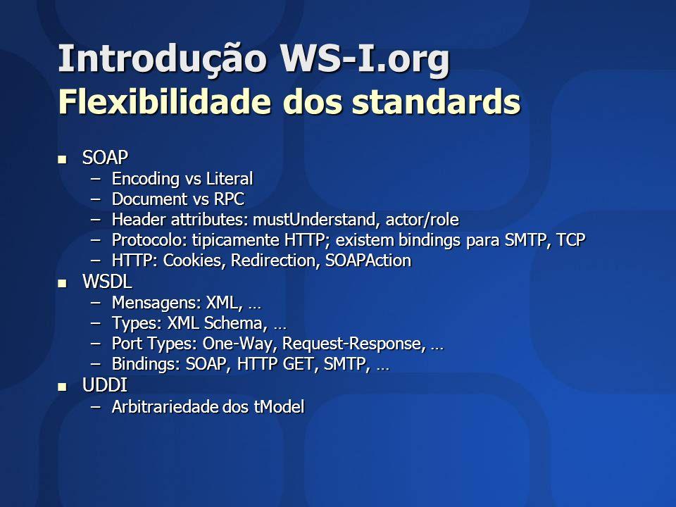 Introdução WS-I.org Flexibilidade dos standards SOAP SOAP –Encoding vs Literal –Document vs RPC –Header attributes: mustUnderstand, actor/role –Protoc