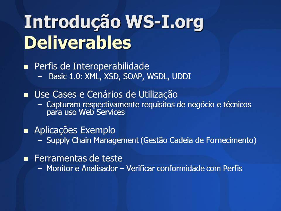 Introdução WS-I.org Deliverables Perfis de Interoperabilidade – – Basic 1.0: XML, XSD, SOAP, WSDL, UDDI Use Cases e Cenários de Utilização – –Capturam