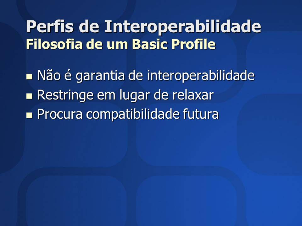 Perfis de Interoperabilidade Filosofia de um Basic Profile Não é garantia de interoperabilidade Não é garantia de interoperabilidade Restringe em lugar de relaxar Restringe em lugar de relaxar Procura compatibilidade futura Procura compatibilidade futura