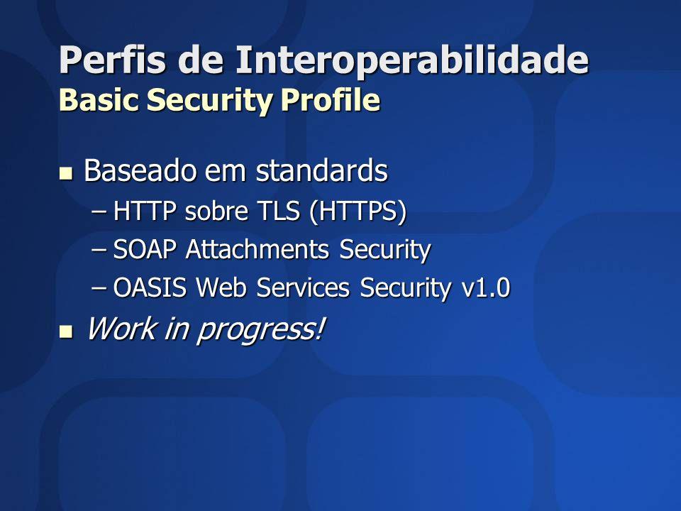 Perfis de Interoperabilidade Basic Security Profile Baseado em standards Baseado em standards –HTTP sobre TLS (HTTPS) –SOAP Attachments Security –OASI
