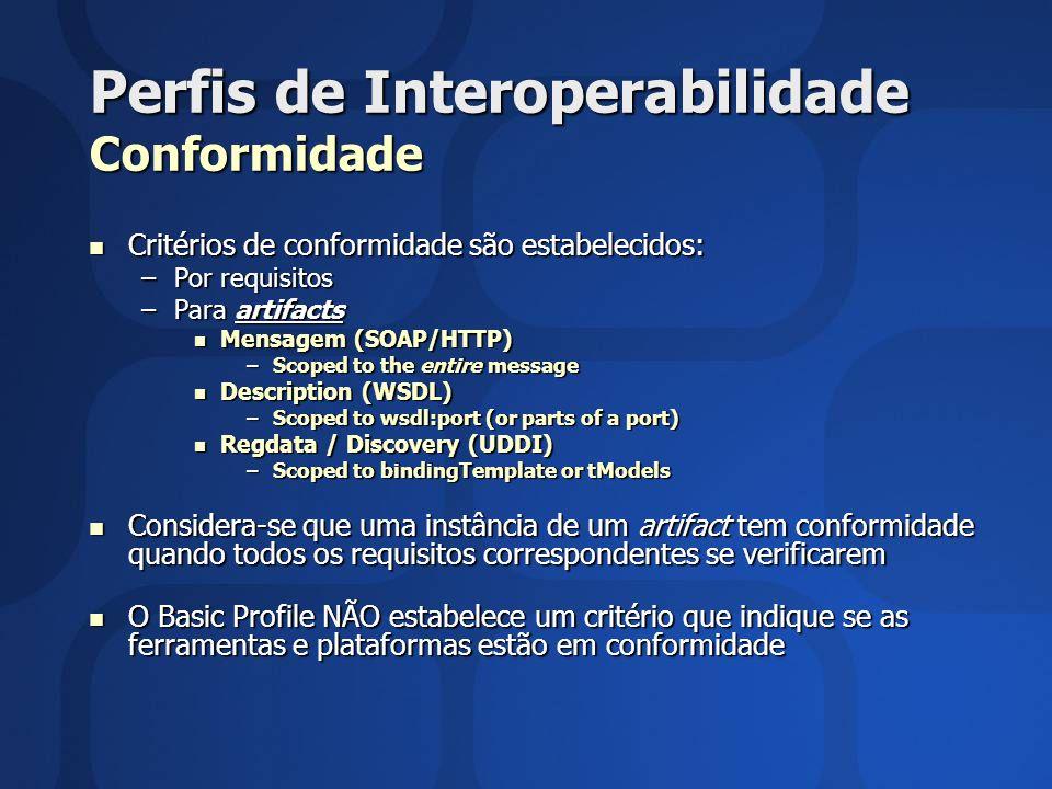 Perfis de Interoperabilidade Conformidade Critérios de conformidade são estabelecidos: Critérios de conformidade são estabelecidos: –Por requisitos –P