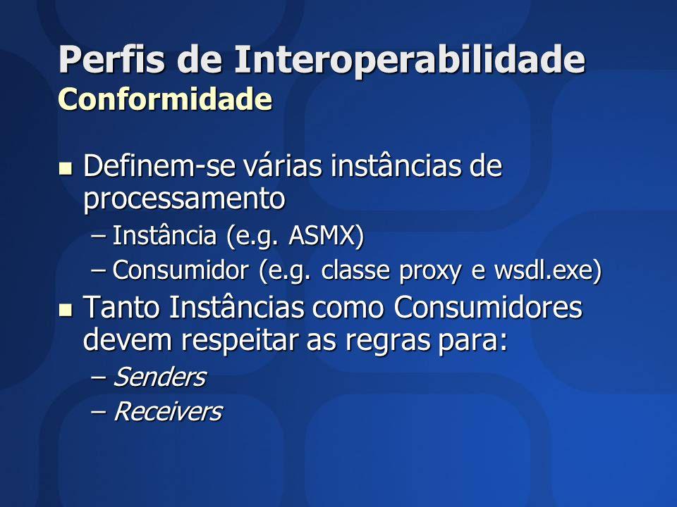 Perfis de Interoperabilidade Conformidade Definem-se várias instâncias de processamento Definem-se várias instâncias de processamento –Instância (e.g.
