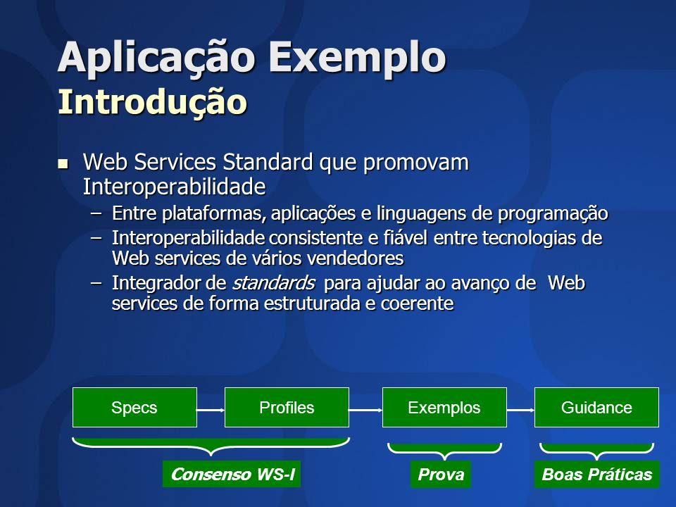 Aplicação Exemplo Introdução Web Services Standard que promovam Interoperabilidade Web Services Standard que promovam Interoperabilidade –Entre plataf