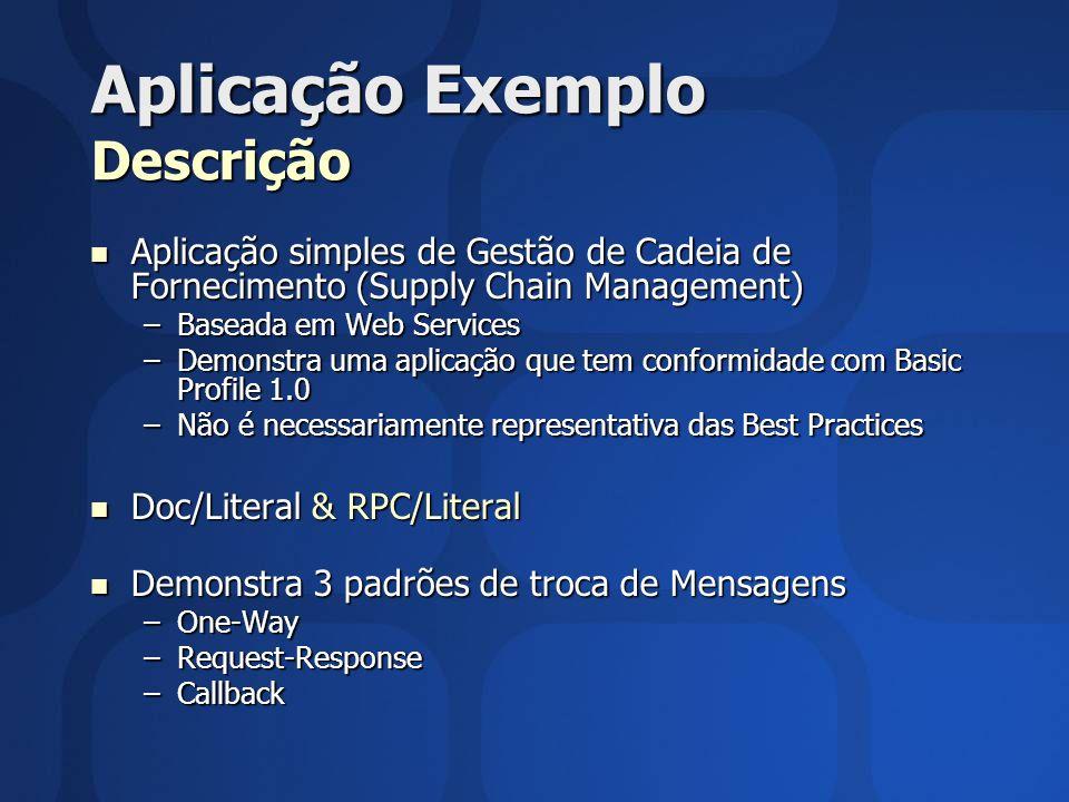 Aplicação Exemplo Descrição Aplicação simples de Gestão de Cadeia de Fornecimento (Supply Chain Management) Aplicação simples de Gestão de Cadeia de F