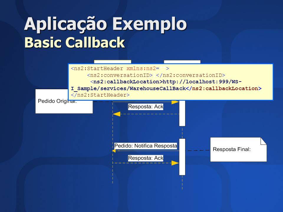 Aplicação Exemplo Basic Callback 1 http://localhost:999/WS- I_Sample/services/WarehouseCallBack
