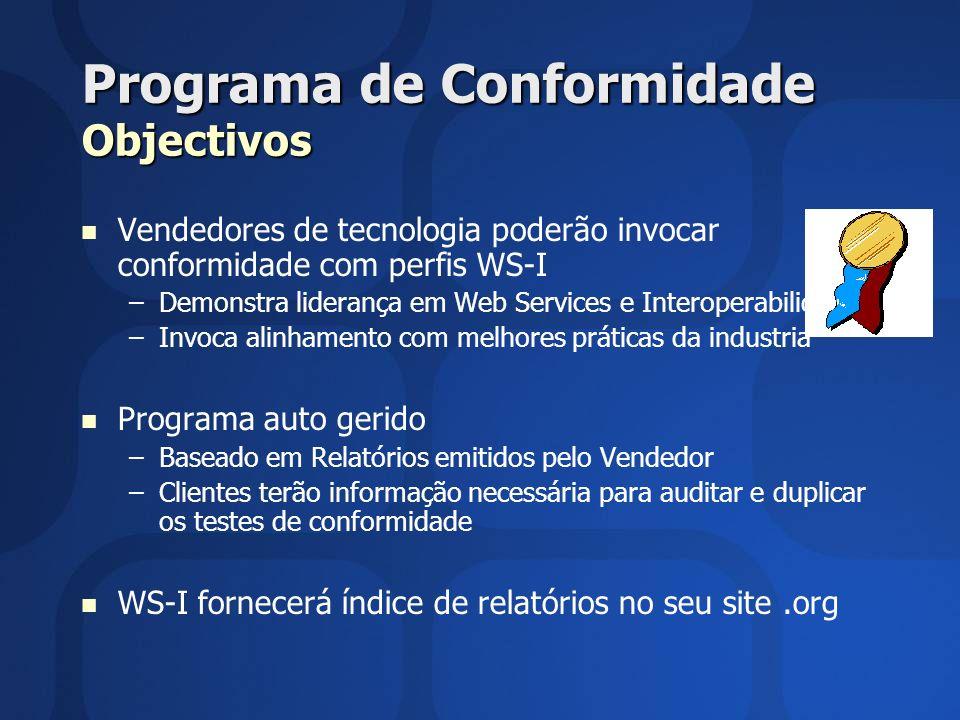 Programa de Conformidade Objectivos Vendedores de tecnologia poderão invocar conformidade com perfis WS-I – –Demonstra liderança em Web Services e Int