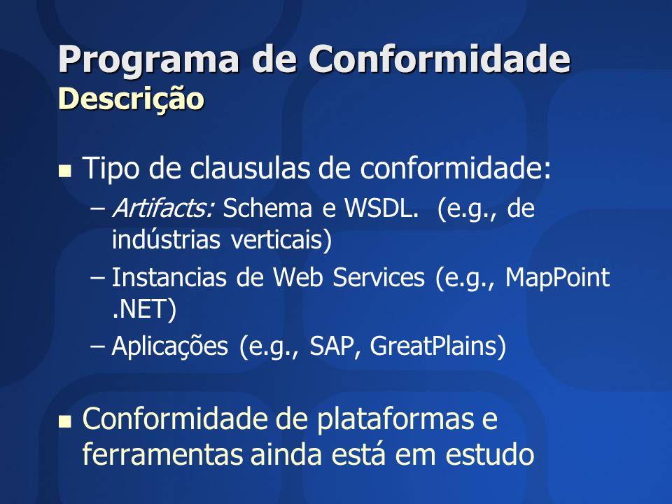 Programa de Conformidade Descrição Tipo de clausulas de conformidade: – –Artifacts: Schema e WSDL. (e.g., de indústrias verticais) – –Instancias de We