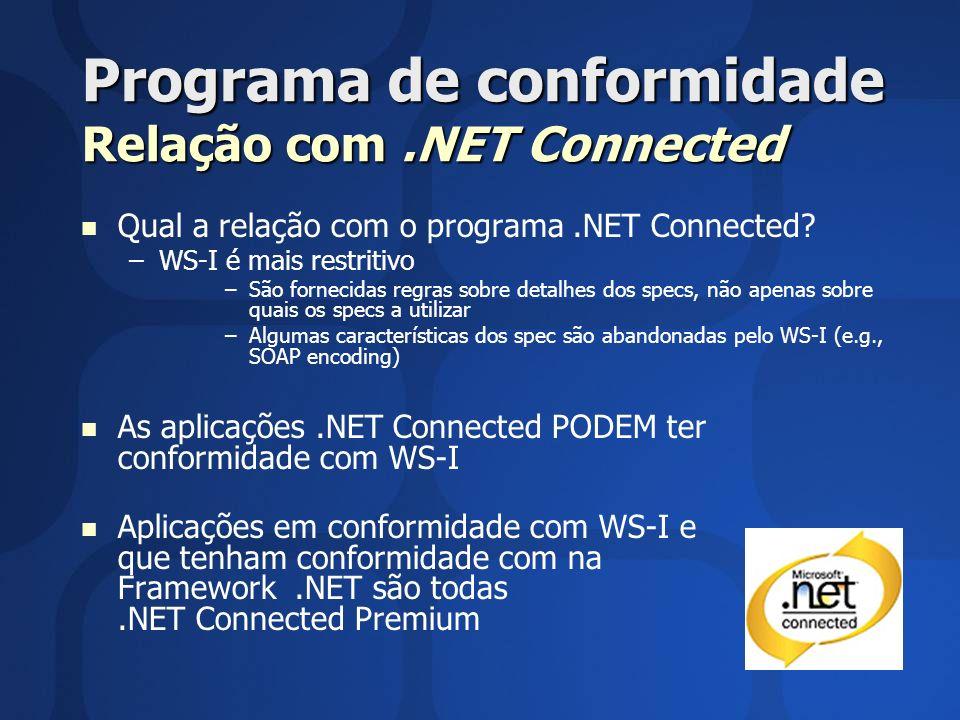 Programa de conformidade Relação com.NET Connected Qual a relação com o programa.NET Connected? – –WS-I é mais restritivo – –São fornecidas regras sob