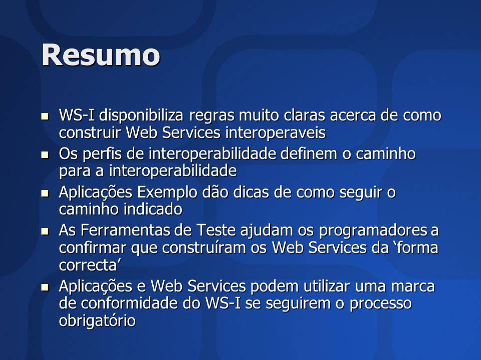 Resumo WS-I disponibiliza regras muito claras acerca de como construir Web Services interoperaveis WS-I disponibiliza regras muito claras acerca de co