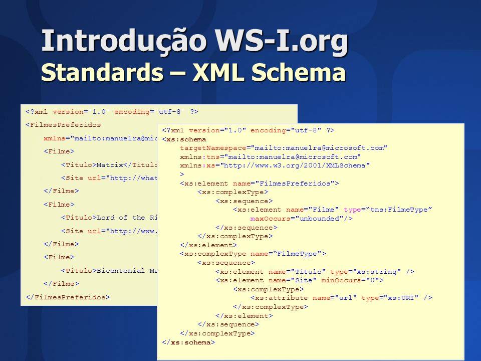 Introdução WS-I.org Standards – XML Schema <FilmesPreferidos xmlns= mailto:manuelra@microsoft.com > Matrix Lord of the Rings - Part I Bicentenial Man <xs:schema targetNamespace= mailto:manuelra@microsoft.com xmlns:tns= mailto:manuelra@microsoft.com xmlns:xs= http://www.w3.org/2001/XMLSchema > <xs:element name= Filme type=tns:FilmeType maxOccurs= unbounded />