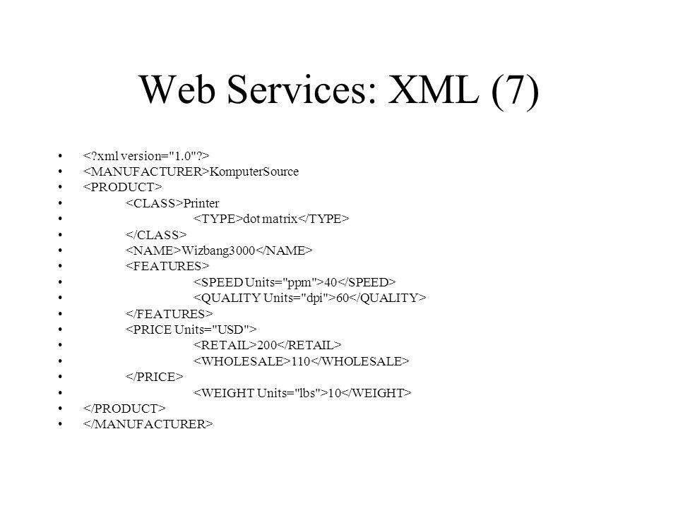 Web Services: XML (7) KomputerSource Printer dot matrix Wizbang3000 40 60 200 110 10