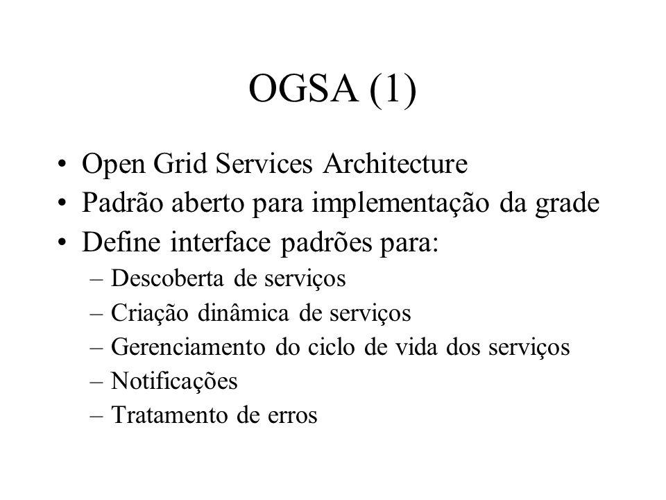 OGSA (1) Open Grid Services Architecture Padrão aberto para implementação da grade Define interface padrões para: –Descoberta de serviços –Criação din