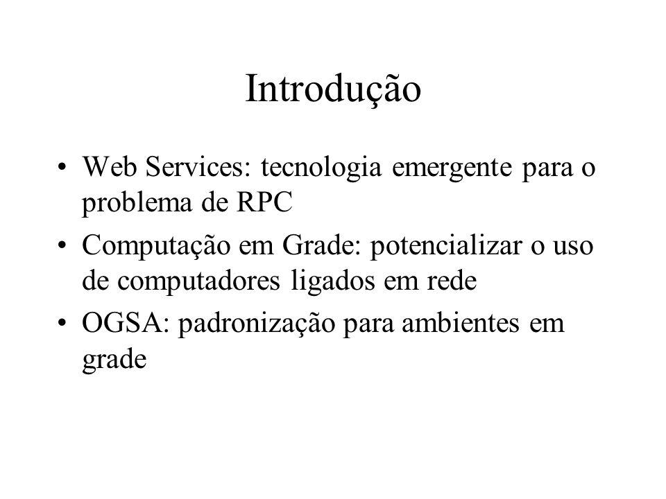 Introdução Web Services: tecnologia emergente para o problema de RPC Computação em Grade: potencializar o uso de computadores ligados em rede OGSA: pa