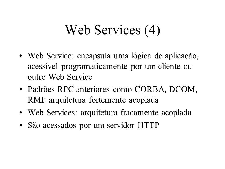 Web Services (4) Web Service: encapsula uma lógica de aplicação, acessível programaticamente por um cliente ou outro Web Service Padrões RPC anteriore