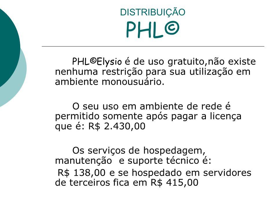DISTRIBUIÇÃO PHL© PHL©Elysio é de uso gratuito,não existe nenhuma restrição para sua utilização em ambiente monousuário. O seu uso em ambiente de rede