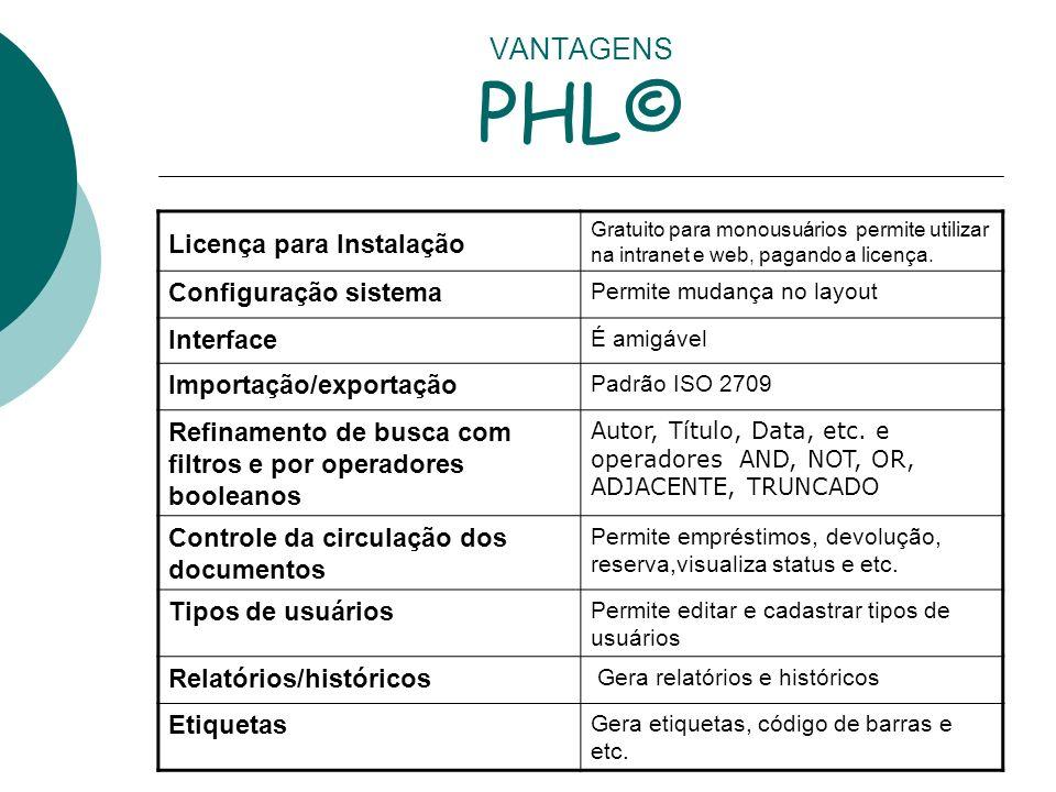 VANTAGENS PHL© Licença para Instalação Gratuito para monousuários permite utilizar na intranet e web, pagando a licença. Configuração sistema Permite