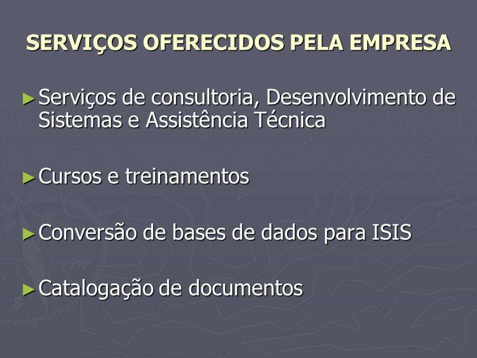 Bases de dados e softwares complementares para CDS/ISIS (WinISIS e MicroISIS), com os softwares: Bases de dados e softwares complementares para CDS/ISIS (WinISIS e MicroISIS), com os softwares: - WinisEMP - Sistema de Empréstimos; - WinisETIQ - Impressão de Etiquetas e - WebISIS - Disponibilização de Bases de Dados na Internet.