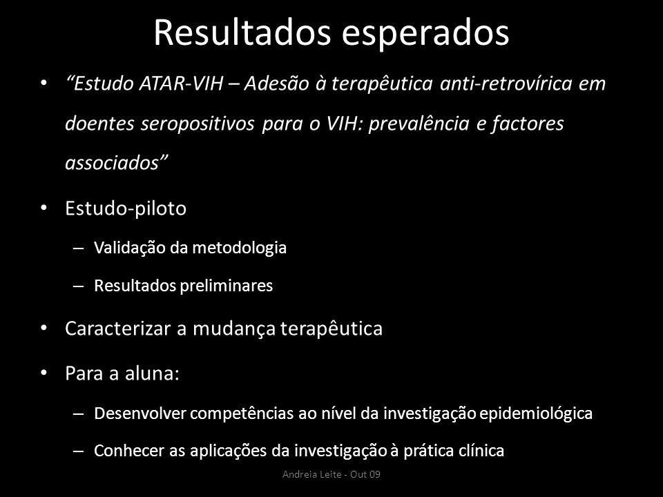 Resultados esperados Estudo ATAR-VIH – Adesão à terapêutica anti-retrovírica em doentes seropositivos para o VIH: prevalência e factores associados Es