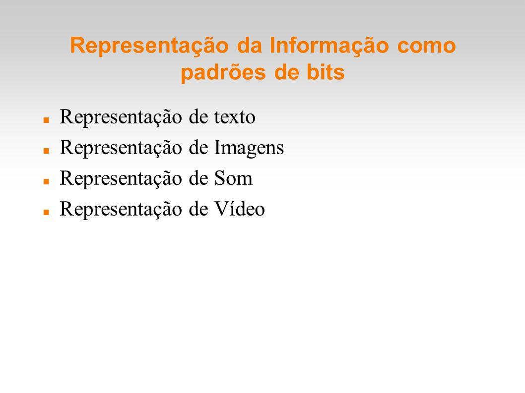 Representação da Informação como padrões de bits Representação de texto Representação de Imagens Representação de Som Representação de Vídeo