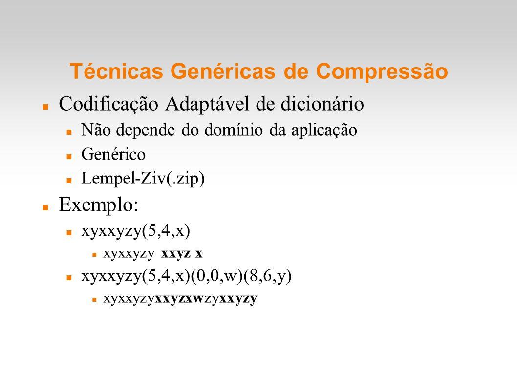 Técnicas Genéricas de Compressão Codificação Adaptável de dicionário Não depende do domínio da aplicação Genérico Lempel-Ziv(.zip) Exemplo: xyxxyzy(5,