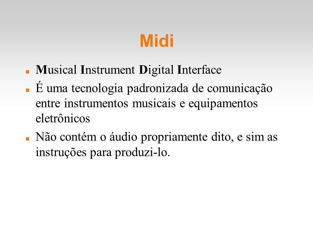 Midi Musical Instrument Digital Interface É uma tecnologia padronizada de comunicação entre instrumentos musicais e equipamentos eletrônicos Não conté