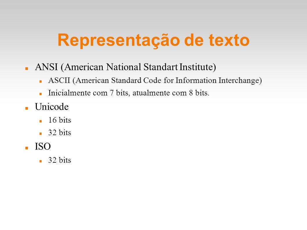 Representação de texto ANSI (American National Standart Institute) ASCII (American Standard Code for Information Interchange) Inicialmente com 7 bits,