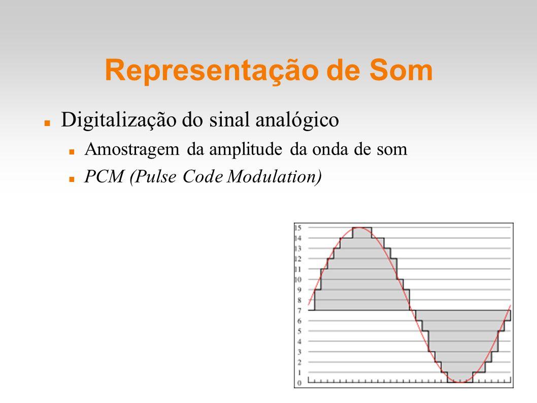 Representação de Som Digitalização do sinal analógico Amostragem da amplitude da onda de som PCM (Pulse Code Modulation)