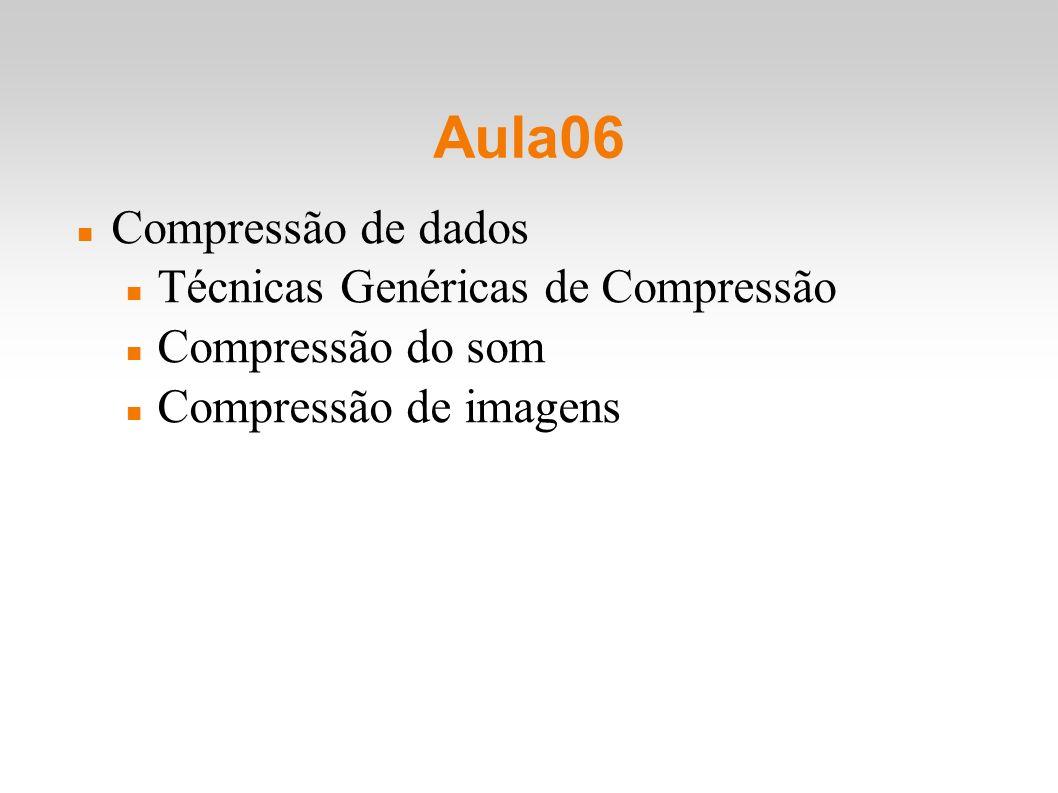 Compressão de dados Técnicas Genéricas de Compressão Compressão do som Compressão de imagens