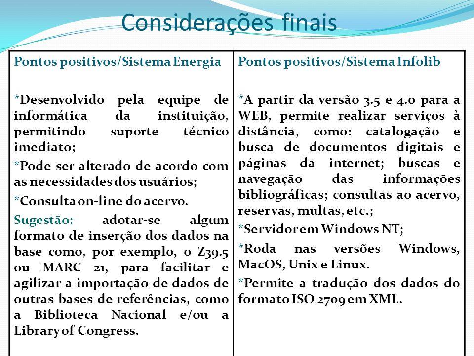 Considerações finais Pontos positivos/Sistema Energia *Desenvolvido pela equipe de informática da instituição, permitindo suporte técnico imediato; *P