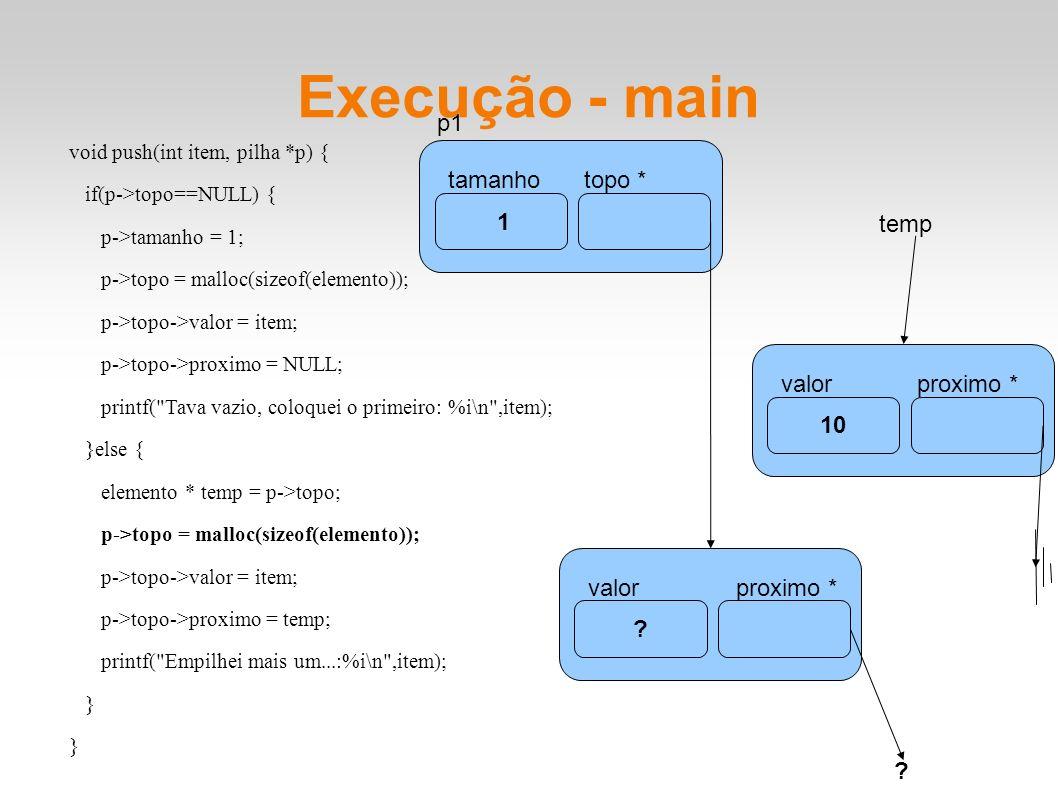 Execução - main tamanhotopo * p1 1 10 valorproximo * void push(int item, pilha *p) { if(p->topo==NULL) { p->tamanho = 1; p->topo = malloc(sizeof(elemento)); p->topo->valor = item; p->topo->proximo = NULL; printf( Tava vazio, coloquei o primeiro: %i\n ,item); }else { elemento * temp = p->topo; p->topo = malloc(sizeof(elemento)); p->topo->valor = item; p->topo->proximo = temp; printf( Empilhei mais um...:%i\n ,item); } temp .