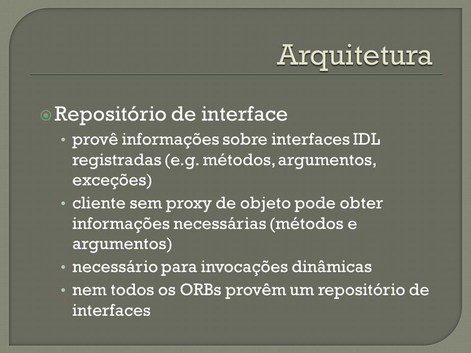 Repositório de interface provê informações sobre interfaces IDL registradas (e.g. métodos, argumentos, exceções) cliente sem proxy de objeto pode obte