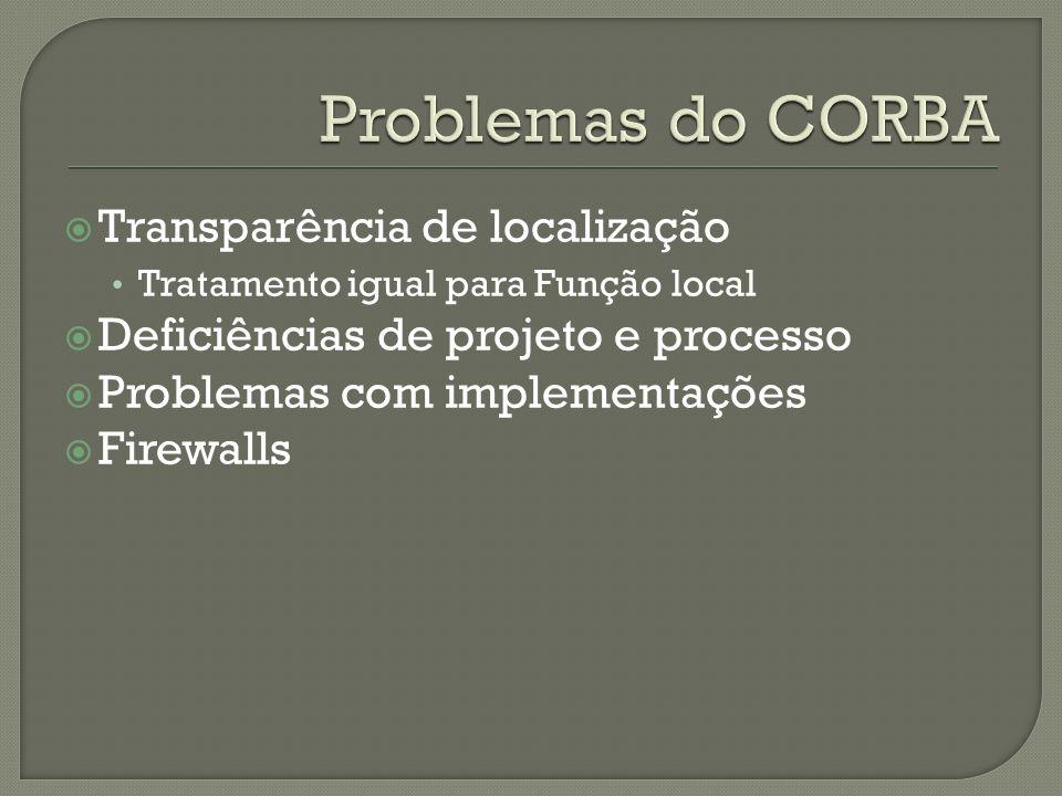 Transparência de localização Tratamento igual para Função local Deficiências de projeto e processo Problemas com implementações Firewalls