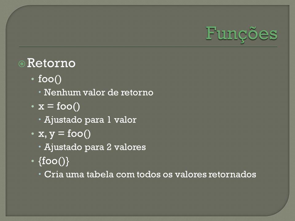 Retorno foo() Nenhum valor de retorno x = foo() Ajustado para 1 valor x, y = foo() Ajustado para 2 valores {foo()} Cria uma tabela com todos os valore