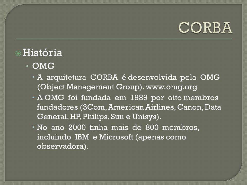 História OMG A arquitetura CORBA é desenvolvida pela OMG (Object Management Group). www.omg.org A OMG foi fundada em 1989 por oito membros fundadores