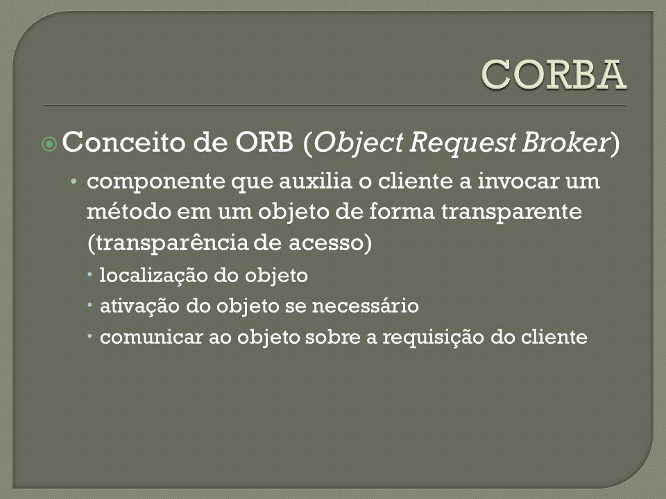 Conceito de ORB (Object Request Broker) componente que auxilia o cliente a invocar um método em um objeto de forma transparente (transparência de acesso) localização do objeto ativação do objeto se necessário comunicar ao objeto sobre a requisição do cliente