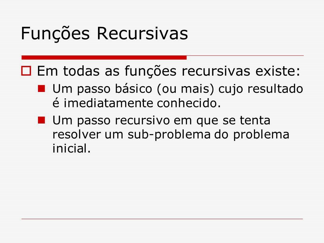 Funções Recursivas Em todas as funções recursivas existe: Um passo básico (ou mais) cujo resultado é imediatamente conhecido. Um passo recursivo em qu