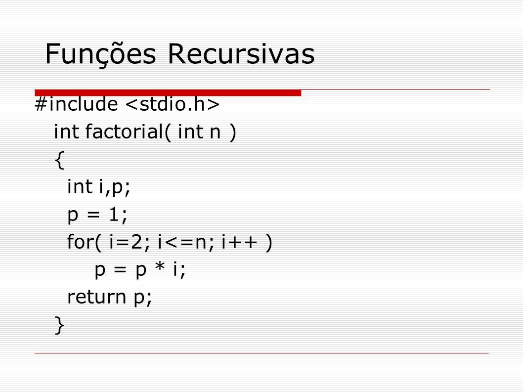 Funções Recursivas #include #include void main(){ unsigned int numero; printf( \nEntre com um numero positivo. ); scanf( %u , &numero); printf( O fatorial de %u vale %u. , numero, factorial(numero)); getch(); } unsigned int factorial (unsigned int num){ unsigned int fato; if (num == 1) return (1); else fato = num * fat (num-1); return fato; }