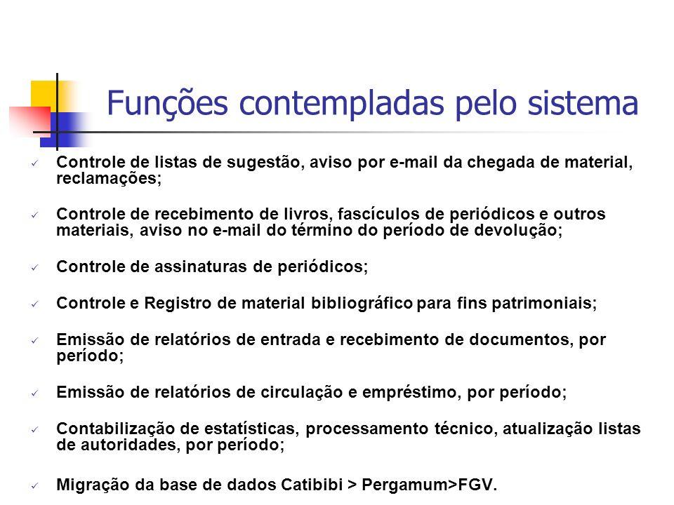 Funções contempladas pelo sistema Controle de listas de sugestão, aviso por e-mail da chegada de material, reclamações; Controle de recebimento de liv