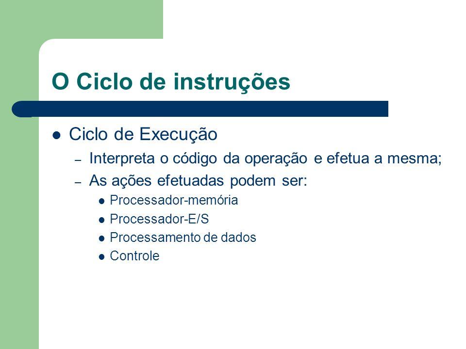 O Ciclo de instruções Ciclo de Execução – Interpreta o código da operação e efetua a mesma; – As ações efetuadas podem ser: Processador-memória Proces