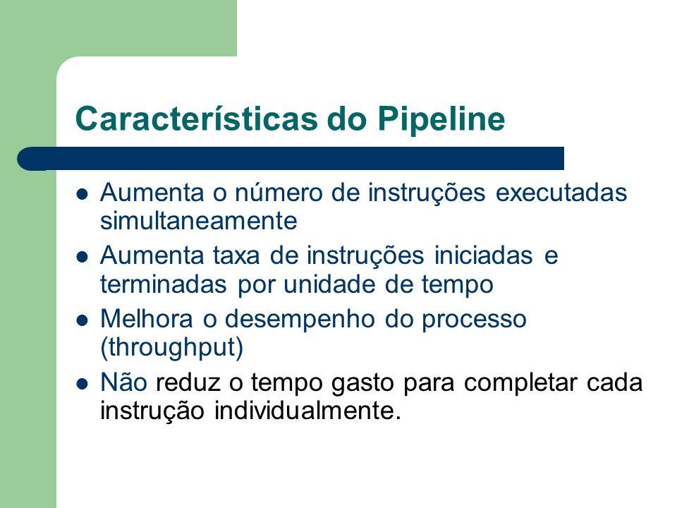 Características do Pipeline Aumenta o número de instruções executadas simultaneamente Aumenta taxa de instruções iniciadas e terminadas por unidade de